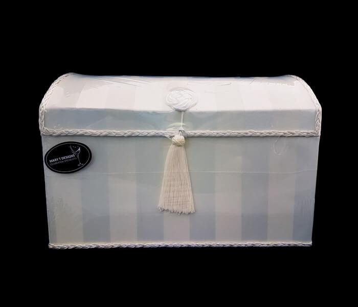 1006-401 Ivory 1006-402 White Treasure Box satin with Tasssel Flap- 25.5cm widthx36cm Length x25cm High 35.00