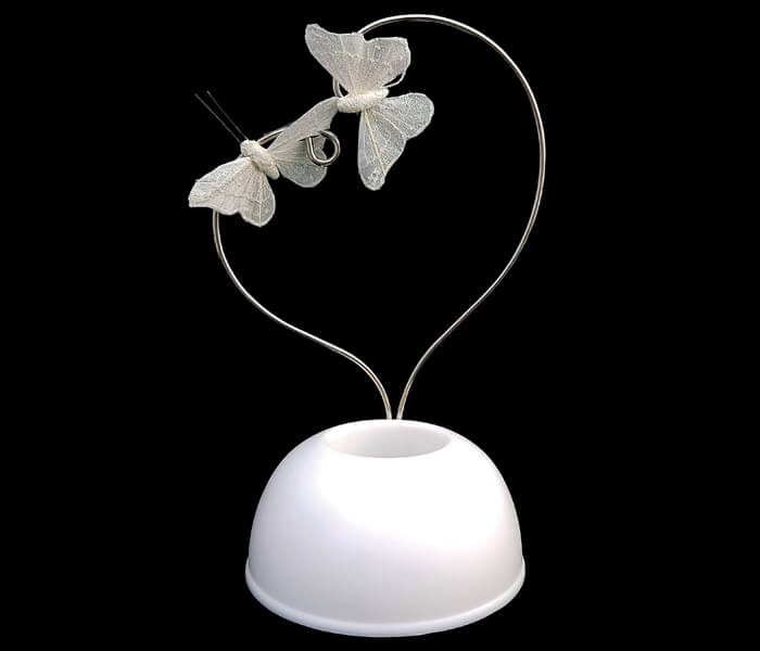 103-148 Cake Topper Heart Shape with Ivory Butterflies can hold fresh flowers 14cm Wide x 21cm High $8