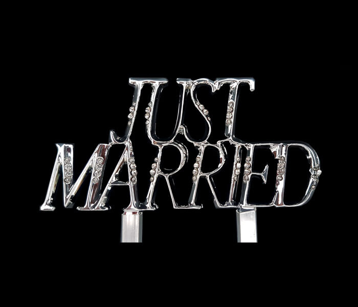 120-025 Cake Topper Just Married 10cm wide x 13cm High 5.50