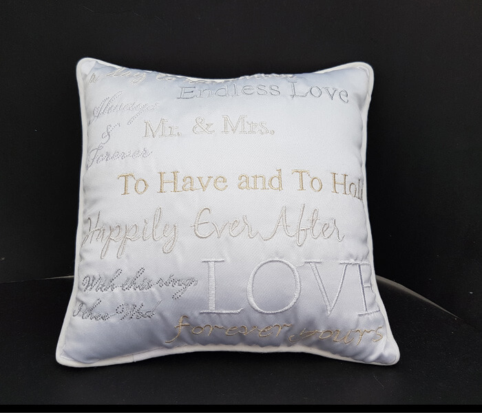 120-120 White Ring Pillow with Poem Embroidered all over $8.50