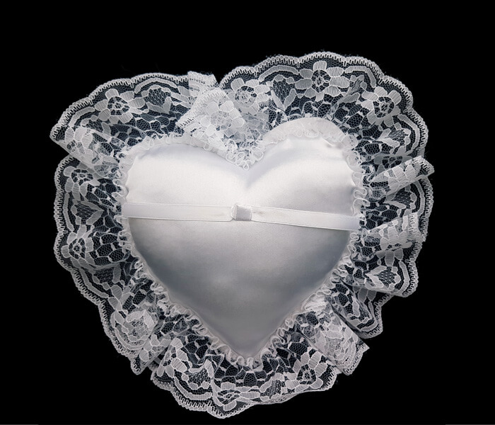 120-816 White Heart Shaped Pillow with Lace 6
