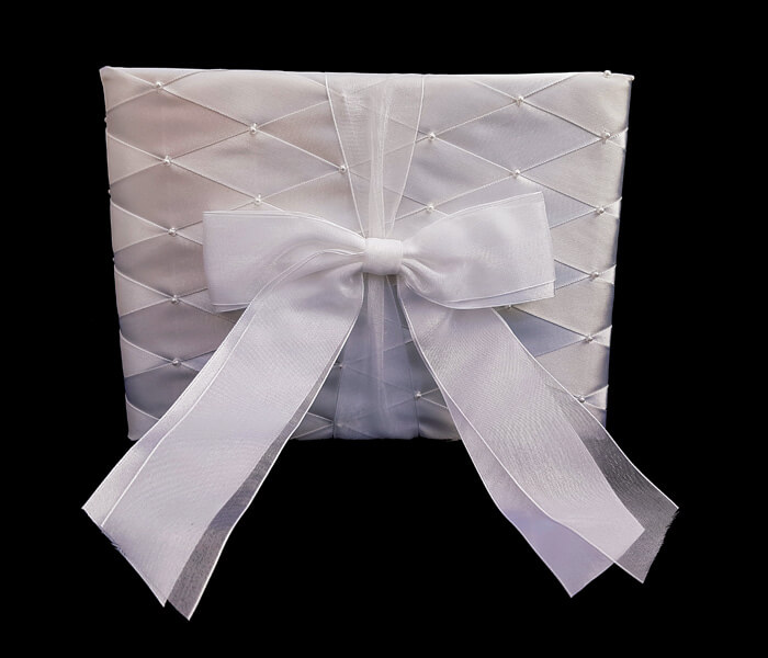120-829 Guest Book Harlequin Weave Satin with Seed Pearl with 60 lined Pages for Guest to sign 7.50