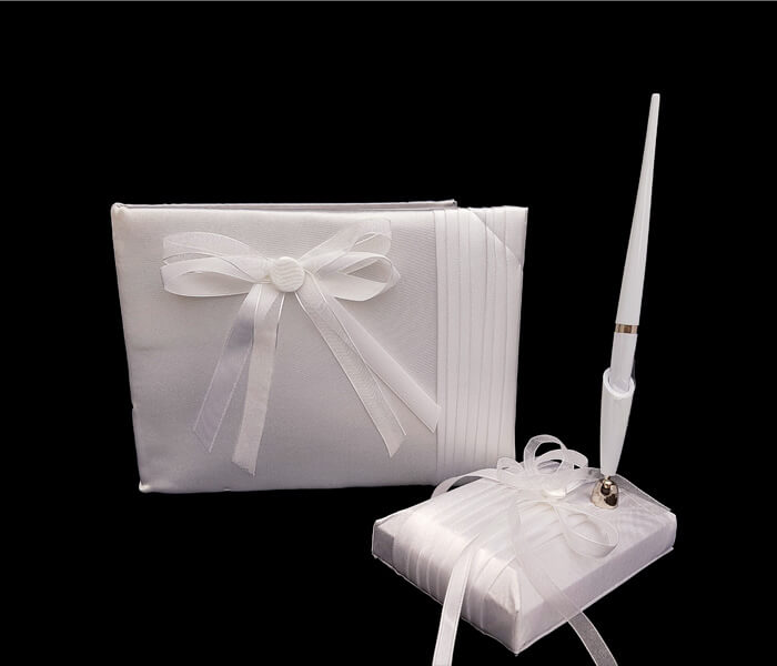 120-871 Guest Book with Pen Set - Satin Pleat Comes with Bride _ Groom Family Pages Bride _ Groom Attendants Pages with 60 Pages for Guests to Sign 20.00