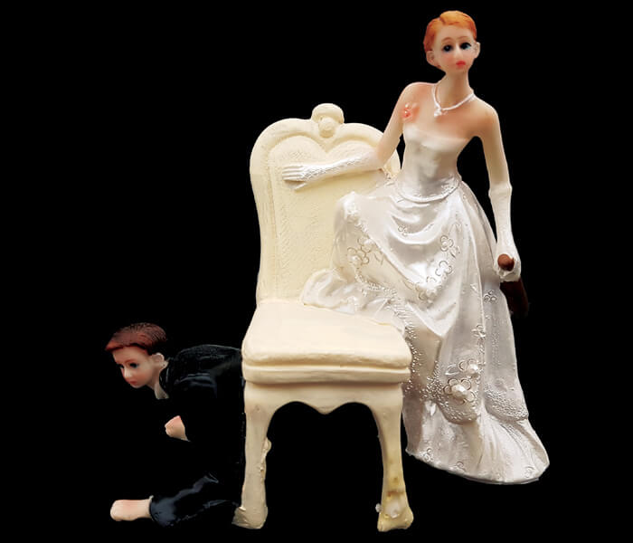 87260 Cake Topper Groom Hiding Under the Chair 13cm wide x 12cm High 5