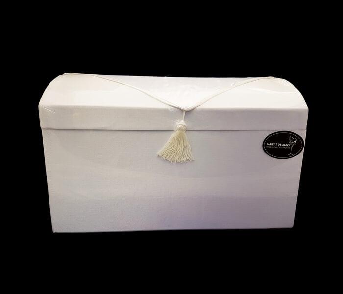 EL-601-White EL-600 Ivory Treasure Box satin with Tasssel Flap- White 20.5cm widthx35.5cm Lenght x23cm High 28.00