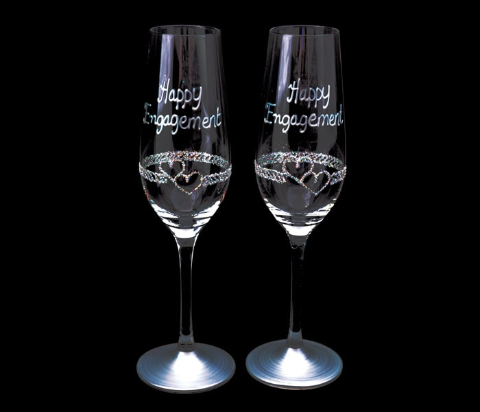 EZ0220-DH$25.00 Pair of Campagne Flutes Double Heart-min