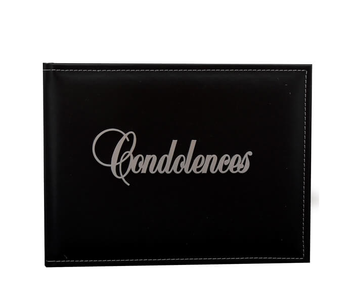 WDG-COND $19.95 Premium Black Leather Guest Books. Contains 36 Pages Designed _ Decorated in Australia