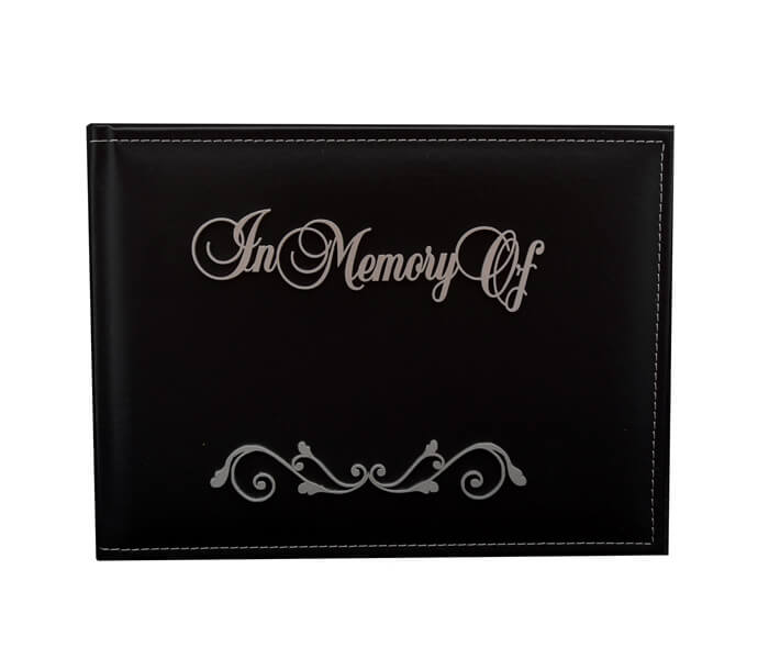 WDG-IMOF $19.95 Premium Black Leather Guest Books. Contains 36 Pages Designed _ Decorated in Australia